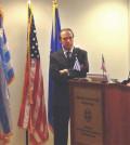 From left, journalist Keri Douglas, Ambassador Christos Panagopoulos, and GAEA's CEO Aris Kefalogiannis