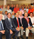 AHEPA's District 6 Gold Coast Chapter members at this season's inaugural meeting. First row, left to right are Louis Arvanitis, Greg Stamos, Supreme President Anthony Kouzounis, Tom Dushas, Nassau County Comptroller George Maragos and the chapter's Vice President Paul Macropoulos.