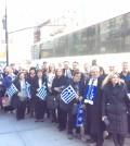Chios Society of Washington DC arriving at NY Parade with President George Psillos, Vice-President Angela Costalas, Secretary Anastasia Orfanoudis, Treasurer Kay Matthews and members.