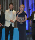 From left, Andrew Liveris, Chairman of The Hellenic Initiative, Sakis Rouvas who mc'd the event, the Honoree Marianna Vardinoyannis, and George Stamas, President of The Hellenic Initiative