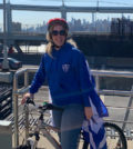 Stella biking to Migrant Crisis Northern Aegean Alliance Rally from Manhattan to Astoria to avoid subway crowds due to covid outbreak