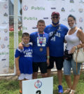 Brothers Argyrios and Georgios Stergiopoulos with their parents Drs. Sotirios and Matina Stergiopoulos at AAU Junior Olympic Games in Florida